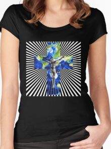 Climate Change Cube Earth Op Art Pop Jesus Women's Fitted Scoop T-Shirt