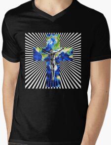 Climate Change Cube Earth Op Art Pop Jesus Mens V-Neck T-Shirt