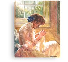 Lady Sewing Canvas Print
