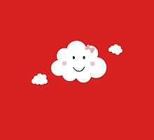 Happy Cloud with pink ribbbon by ilovecotton