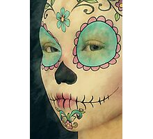 Day of The Dead - Sugar Skull Face Paint Portrait Photographic Print