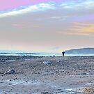 man walking at rocky beach by morrbyte