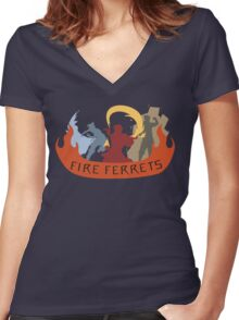 Fire Ferrets Trio - English Women's Fitted V-Neck T-Shirt