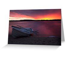 Life saving boat and beach Greeting Card