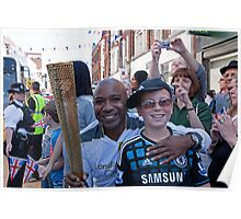 Carlton Dixon with the Olympic Torch In Bromley Poster