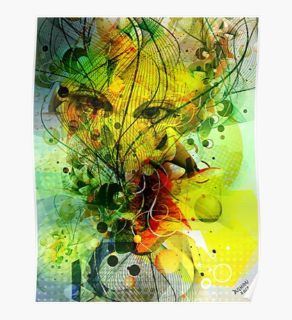 Colorful Abstract Digital Art-Dynamic Shapes And Lines Poster