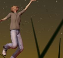 Stretching his hand up to reach the stars, too often man forgets the flowers at his feet Sticker