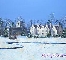 Asthall Christmas Card by Elizabeth Lock