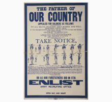 The father of our country appealed for soldiers as followsDo as our forefathers did in 1776 Enlist Army recruiting office open day and night 0001 Kids Tee