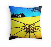 Under a golden umbrella Throw Pillow