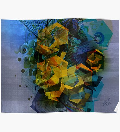 Abstract Digital Art-Dynamic Geometric Shapes And Lines Poster