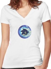Sonic The Hedgehog Planet Women's Fitted V-Neck T-Shirt
