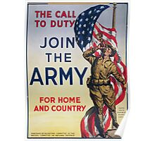 The call to duty Join the Army for home and country 002 Poster
