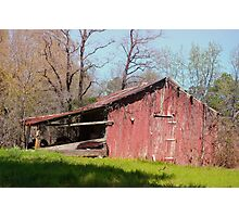 red wooden barn  Photographic Print