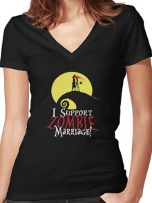 I Support Zombie Marriage! Women's Fitted V-Neck T-Shirt