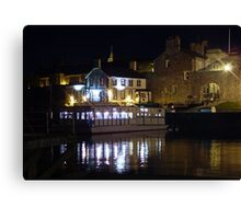 Floating Restaurant and Pub at the Rear by Night Canvas Print