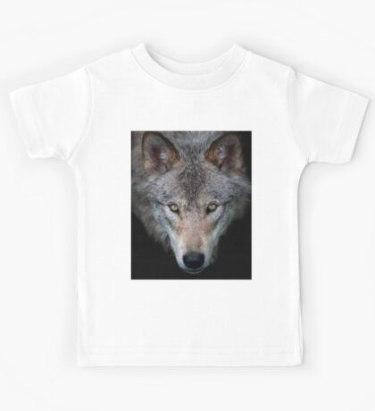 """All the better to see with, my child"" Timber Wolf Kids Tee"