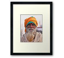 Yellow Turban, Green Knit Framed Print
