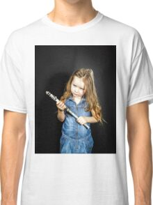 Cute little girl with gas spanner in her hands Classic T-Shirt