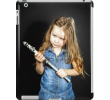 Cute little girl with gas spanner in her hands iPad Case/Skin
