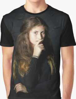 Cute young armenian girl posing in studio isolated on black Graphic T-Shirt