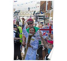 Janet Fletcher carries the Olympic Torch in Bromley Kent Poster