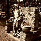 Grieving Woman Statue in Sepia, Laurel Grove Cemetery by Jane Neill-Hancock