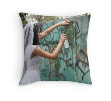 Bride Graffiti Throw Pillow