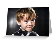 Freckled red-hair boy playing violin. Young musician. Greeting Card
