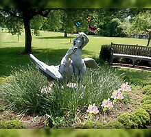 Pixie with Goose In the Garden, Skylands Manor by Jane Neill-Hancock