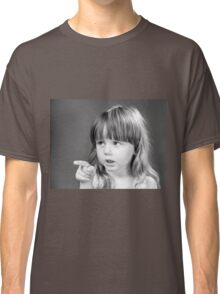 Cute little girl portrait in black and white colors Classic T-Shirt