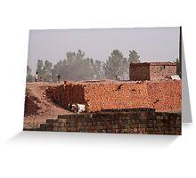 Workers at a brick kiln Greeting Card