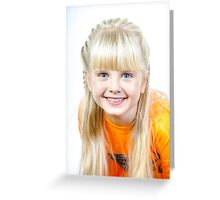 Cute little towhead girl portrait isolated on white background Greeting Card