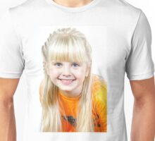 Cute little towhead girl portrait isolated on white background Unisex T-Shirt