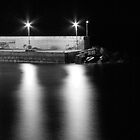 Three lights on the Pier at Night by Tamara Rogers