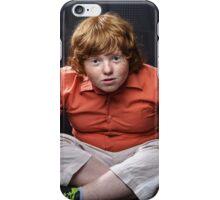Freckled red-hair boy posing on dark background. Emotions. iPhone Case/Skin