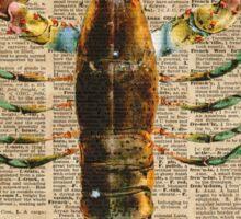 Lobster Crustacean Mediterranean Sealife Vintage Dictionary Art Collage Sticker