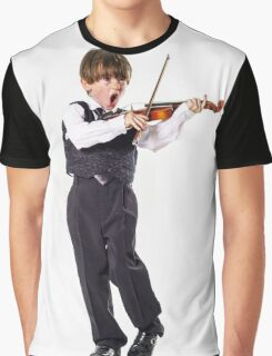 Red-haired preschooler boy with violin, music education Graphic T-Shirt