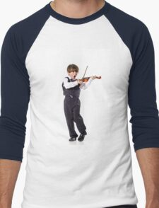 Red-haired preschooler boy with violin, music education Men's Baseball ¾ T-Shirt