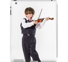 Red-haired preschooler boy with violin, music education iPad Case/Skin