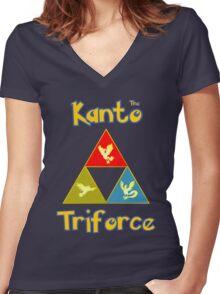 Kanto's Legendary Triforce Women's Fitted V-Neck T-Shirt