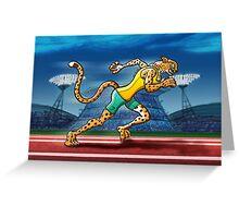 Olympic Runner Cheetah Greeting Card