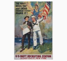 The Navy needs you! Dont read American history  make it! 002 One Piece - Short Sleeve