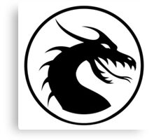 DRAGON, HEAD, CIRCLE, SYMBOL, BLACK on WHITE, LOGO Canvas Print
