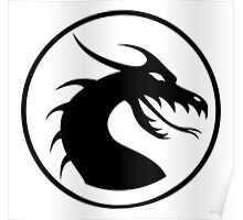 DRAGON, HEAD, CIRCLE, SYMBOL, BLACK on WHITE, LOGO Poster