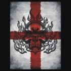 England Flag With Burning Skull by Baxter  Imaging