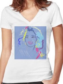 people portrait Oprah in the color purple Women's Fitted V-Neck T-Shirt