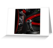 Gear shift handle in modern sport car. Red and black. Greeting Card
