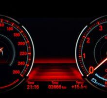 Modern luxury sport car. Speed control dashboard. Sticker