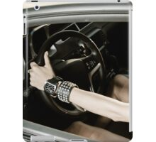 Girl at the luxury sport car wheel iPad Case/Skin
